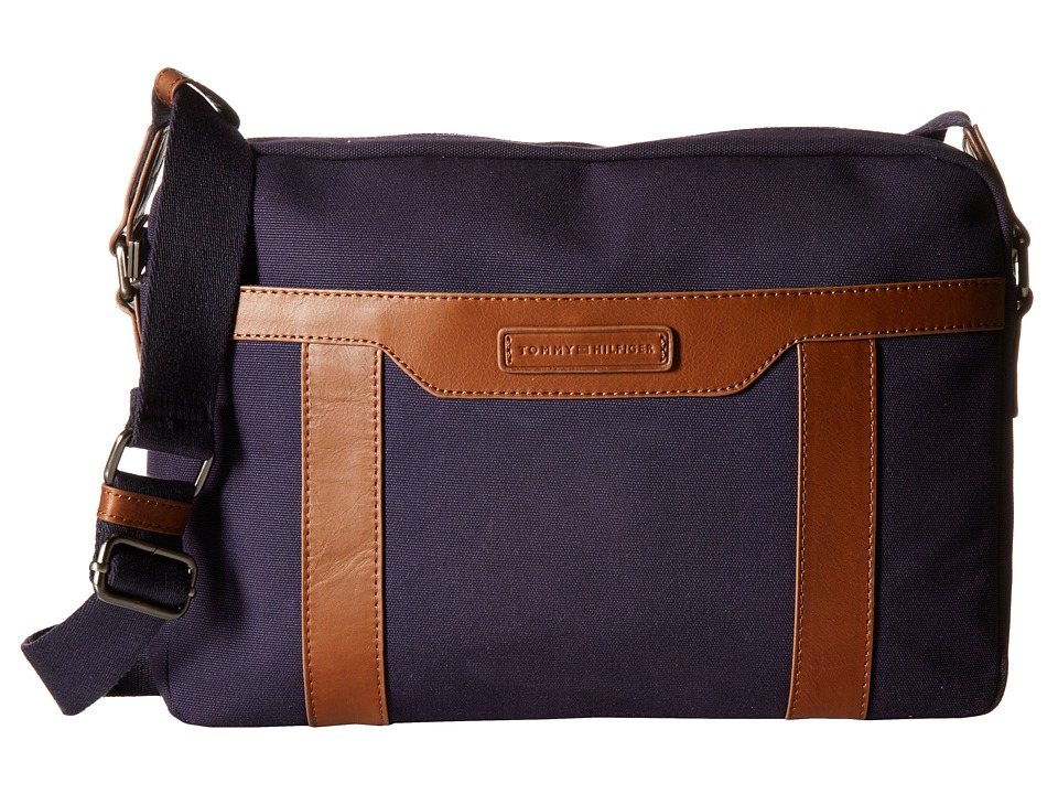 Tommy Hilfiger - David-Messenger-Canvas w/ Leather Trim (Navy) Messenger Bags