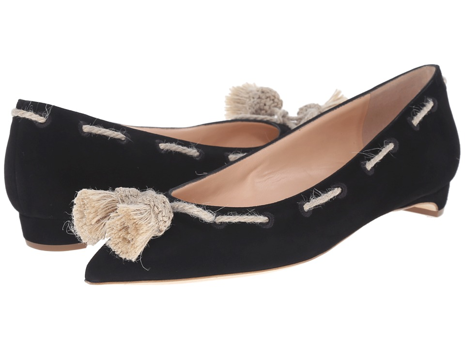 Rupert Sanderson - Jamal Suede Flats with Tassels (Black Suede Body/Hessian Tassel) Women's Flat Shoes
