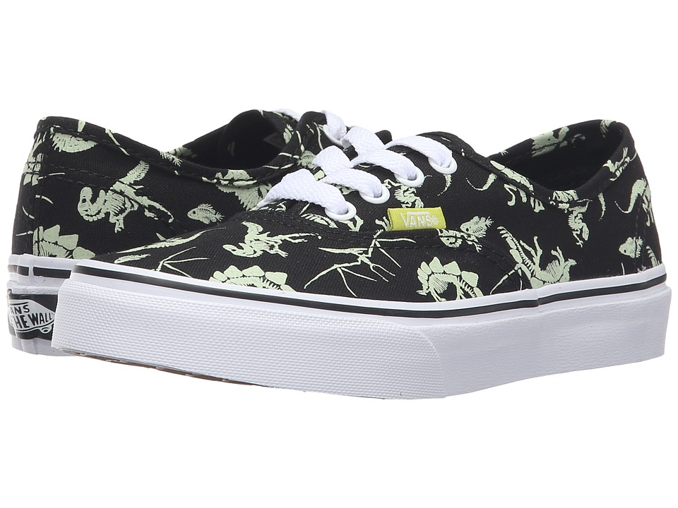 Vans Kids Authentic (Little Kid/Big Kid) ((Glow in the Dark) Dinosaur/Black) Boys Shoes