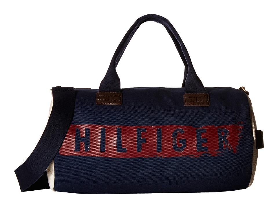 Tommy Hilfiger - Hilfiger Duffles-Duffel-Washed Canvas w/ PU Trim (Navy) Duffel Bags