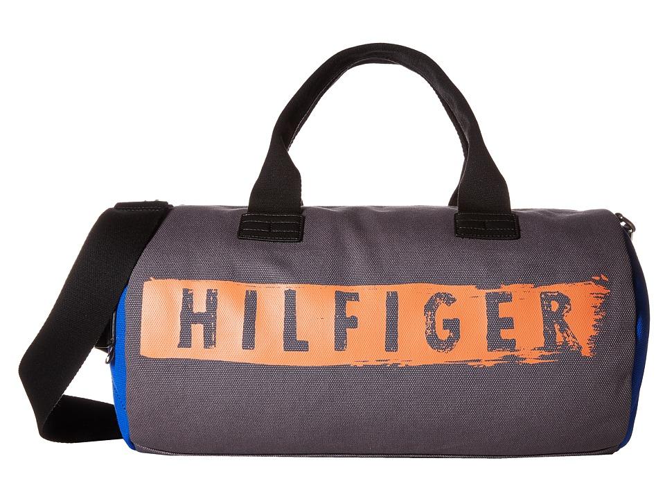 Tommy Hilfiger - Hilfiger Duffles-Duffel-Washed Canvas w/ PU Trim (Grey) Duffel Bags