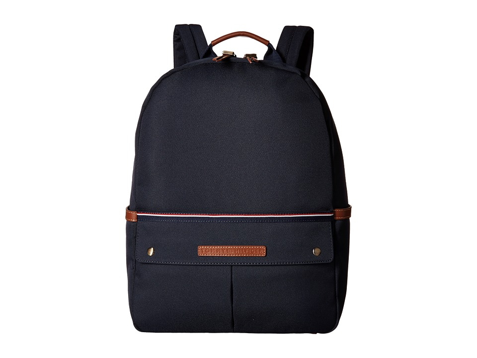 Tommy Hilfiger - Ethan-Backpack-Nylon Twill w/ Leather (Navy) Backpack Bags