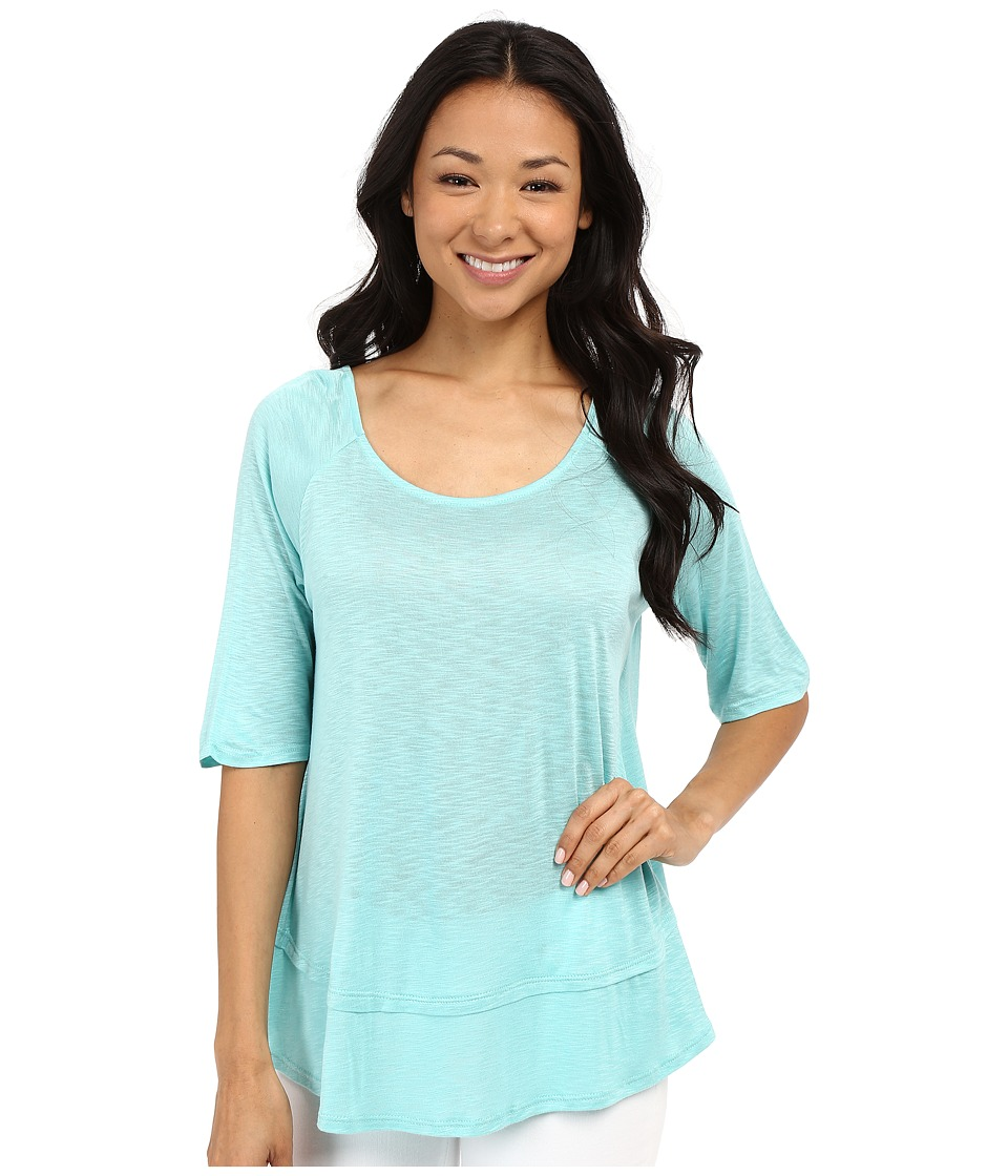 B Collection by Bobeau - Oversized T-Shirt (Aqua) Women's Short Sleeve Pullover