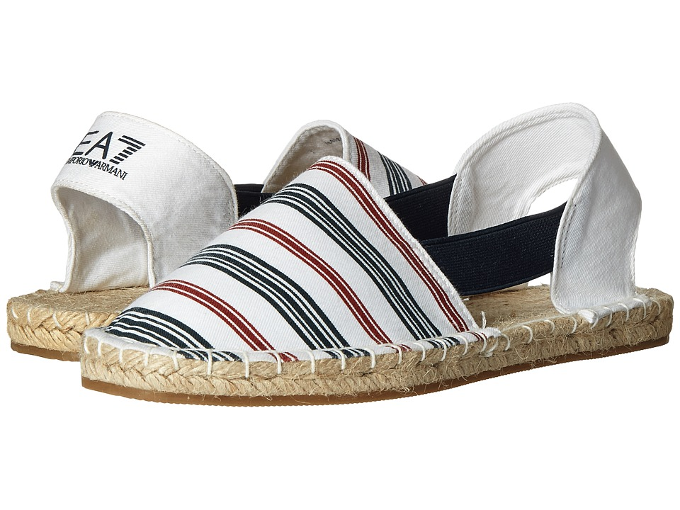 Emporio Armani - Summer Splash Espadrillas (White/Navy/Red) Women's Shoes