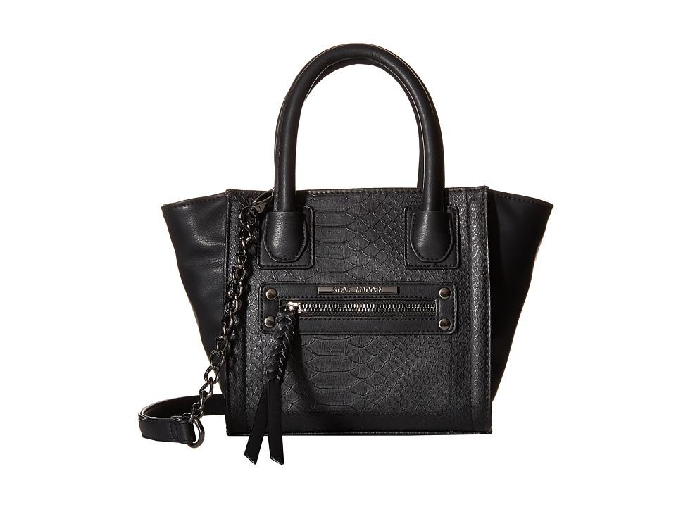 Steve Madden - Mini Hallen (Black Snake/Black/Black) Satchel Handbags