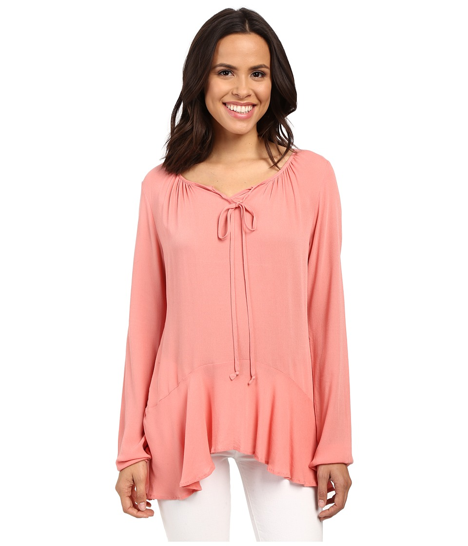 B Collection by Bobeau - Poppy Ruffle Hemline Blouse (Peach) Women's Blouse