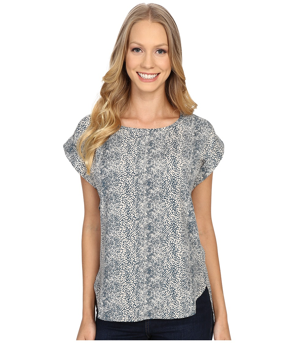 B Collection by Bobeau - Brea Roll Sleeve Top (Blue Snake) Women's Short Sleeve Pullover