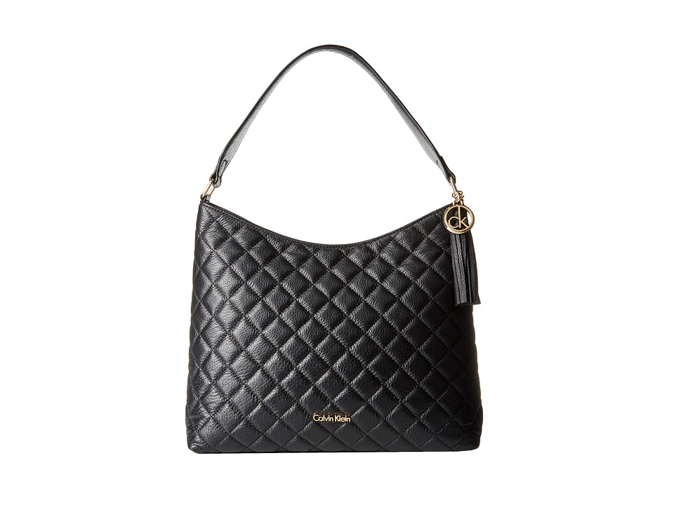 Calvin Klein - Quilted Pebble Hobo (Black/Gold) Hobo Handbags