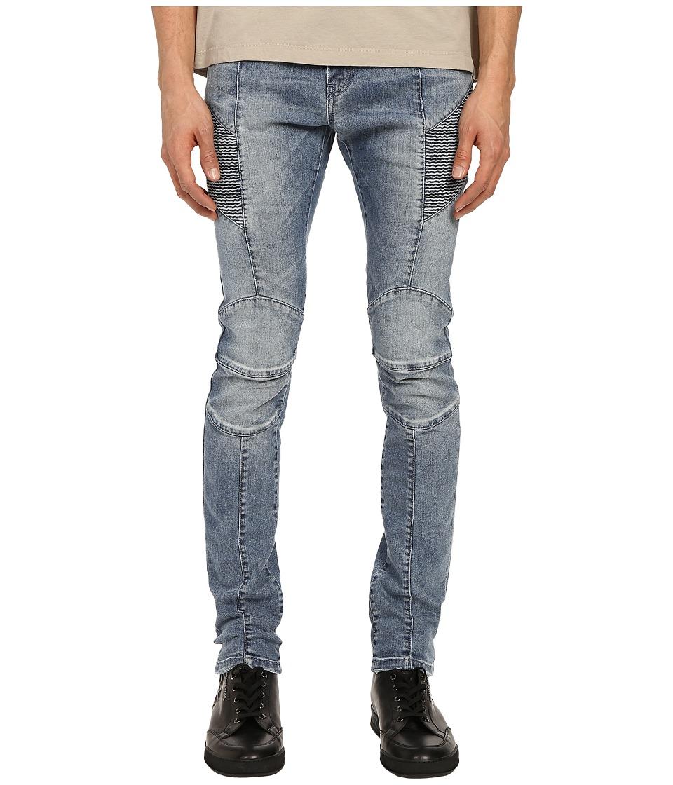 Pierre Balmain - Faded Biker Jeans (Denim Blue) Men's Jeans