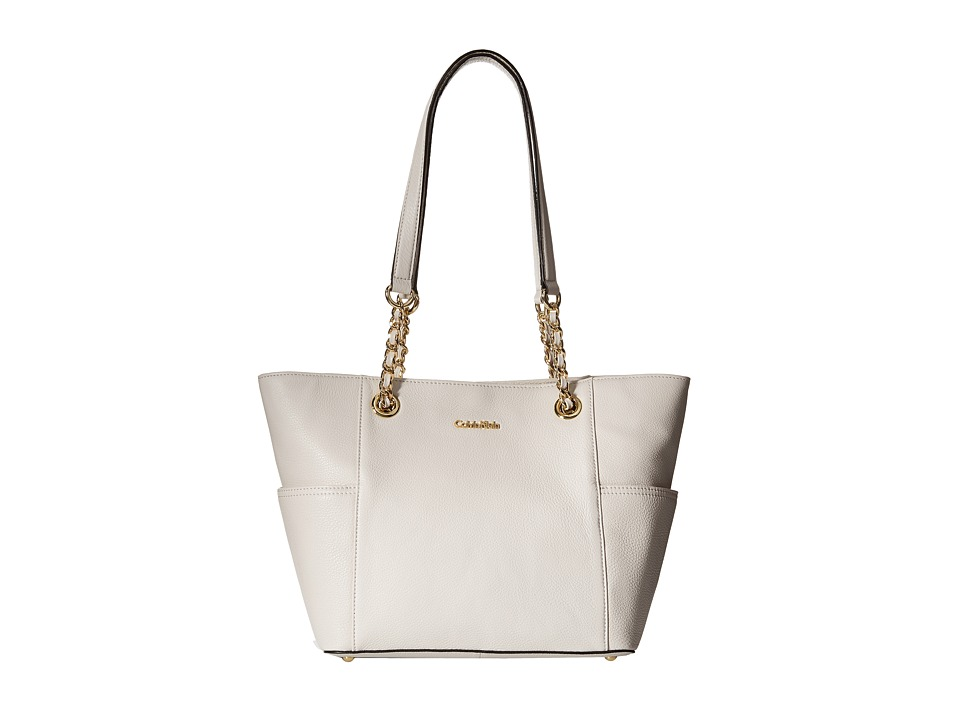 Calvin Klein - Key Item Leather Tote (White 1) Tote Handbags