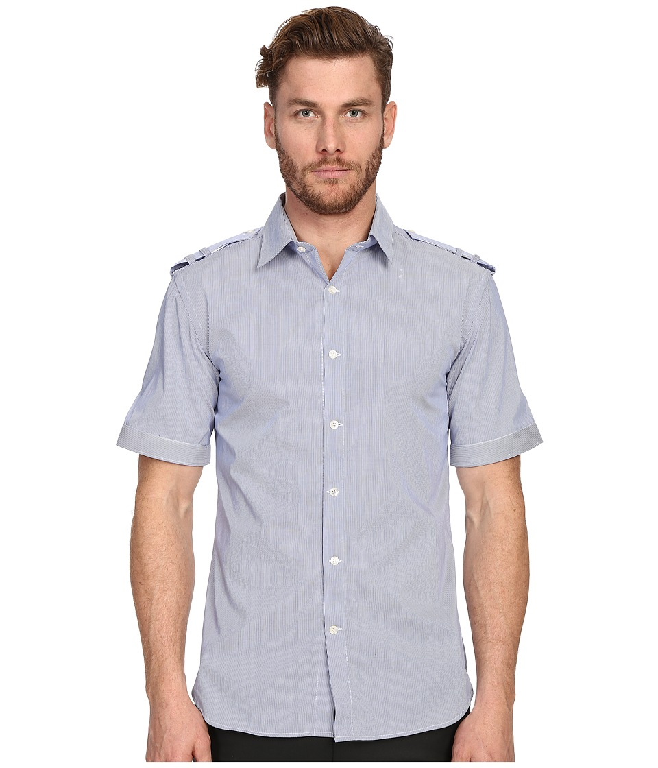 Pierre Balmain - Military Button Up Shirt (Royal Blue) Men's Short Sleeve Button Up
