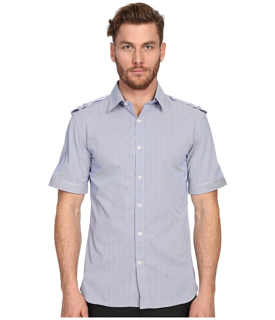 Pierre Balmain - Military Button Up Shirt (Royal Blue) Men's Short Sleeve Button Up
