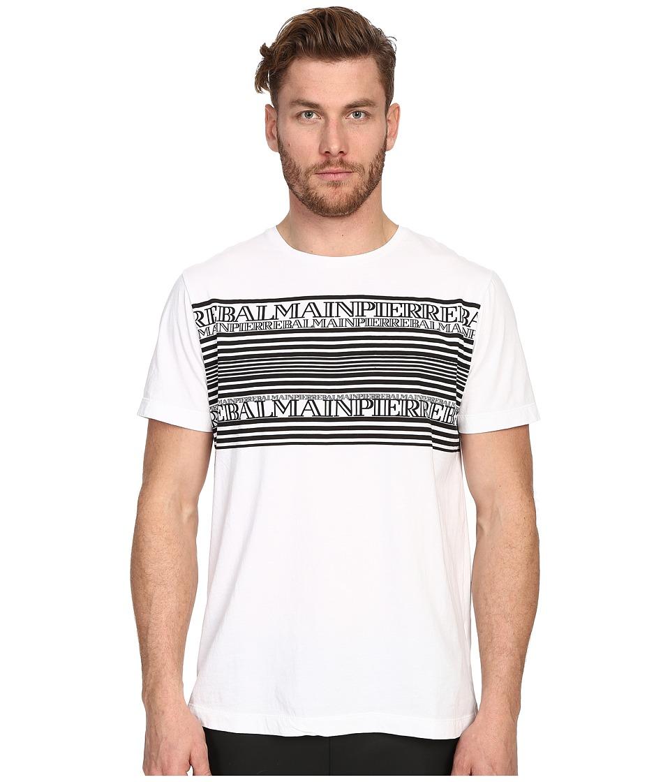 Pierre Balmain - Graphic PB T-Shirt (Optic White) Men's Short Sleeve Pullover