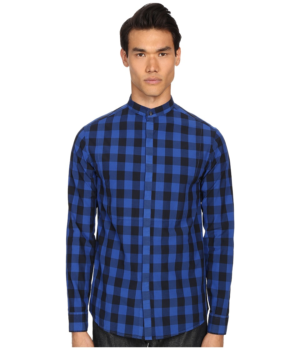 Pierre Balmain - Plaid Button Up Shirt (Royal Blue) Men's Long Sleeve Button Up