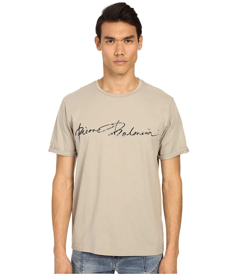 Pierre Balmain - PB Signature T-Shirt (Khaki) Men's T Shirt