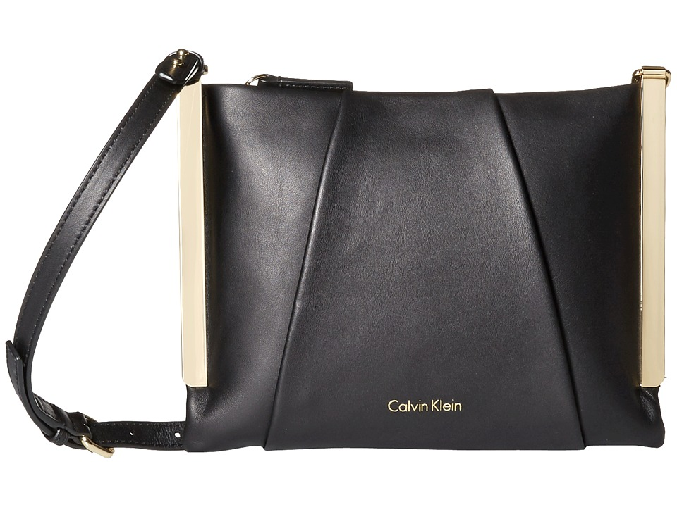 Calvin Klein - Leather Crossbody (Black/Gold) Cross Body Handbags