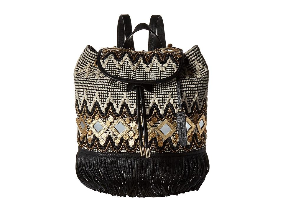 Rebecca Minkoff - Taj Backpack with Fringe (Black/White Multi) Backpack Bags