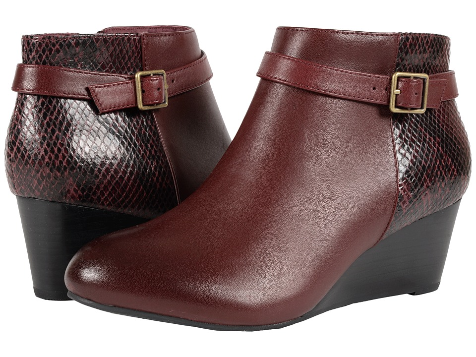VIONIC - Elevated Shasta Wedge Boot (Merlot Snake) Women's Wedge Shoes