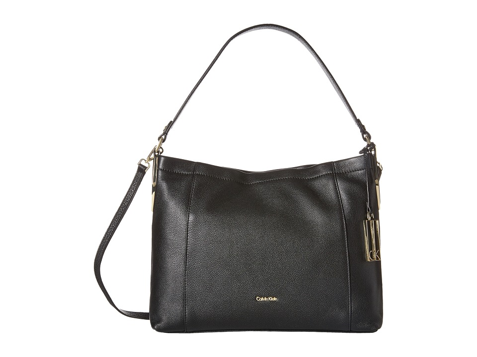 Calvin Klein - Pebble Hobo (Black/Gold) Hobo Handbags