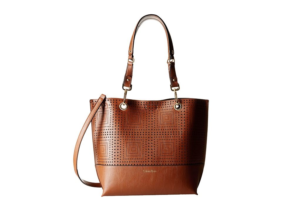 Calvin Klein - Novelty Tote (Luggage/Black Perf) Tote Handbags