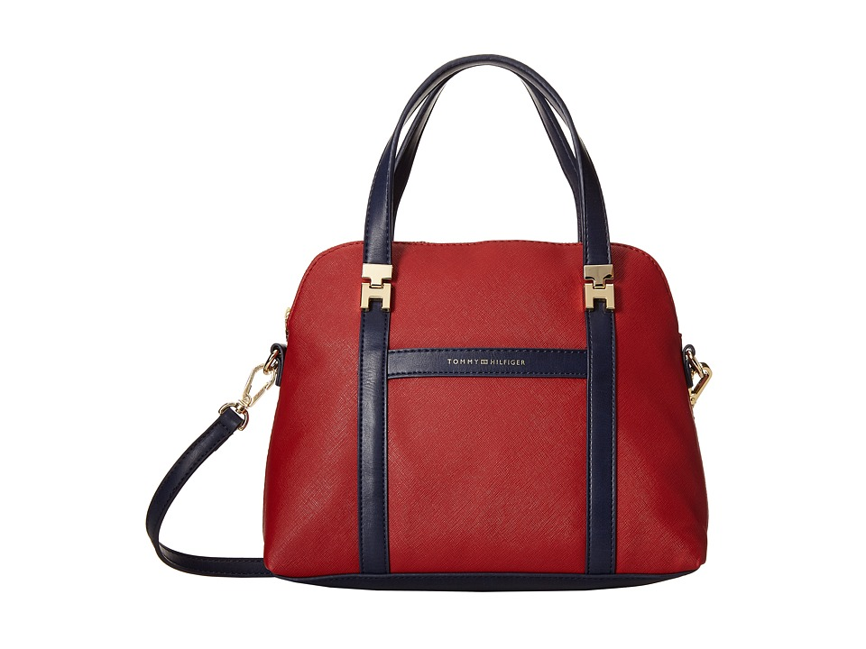 Tommy Hilfiger - Arianna - Saffiano/Smooth Convertible Dome Satchel (Red) Satchel Handbags