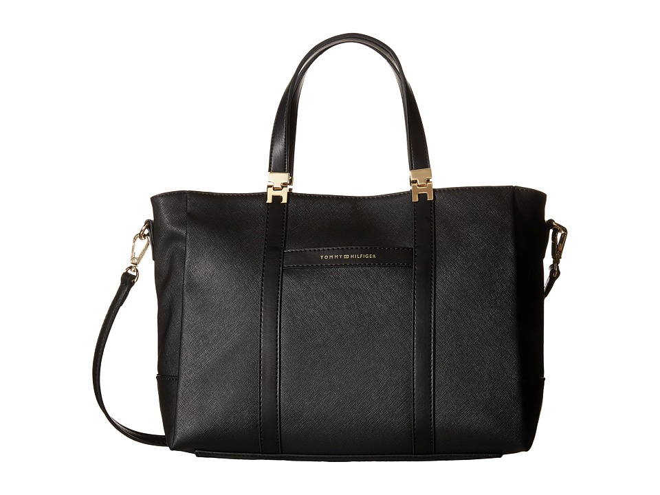 Tommy Hilfiger - Arianna - Saffiano/Smooth Shopper (Black) Tote Handbags