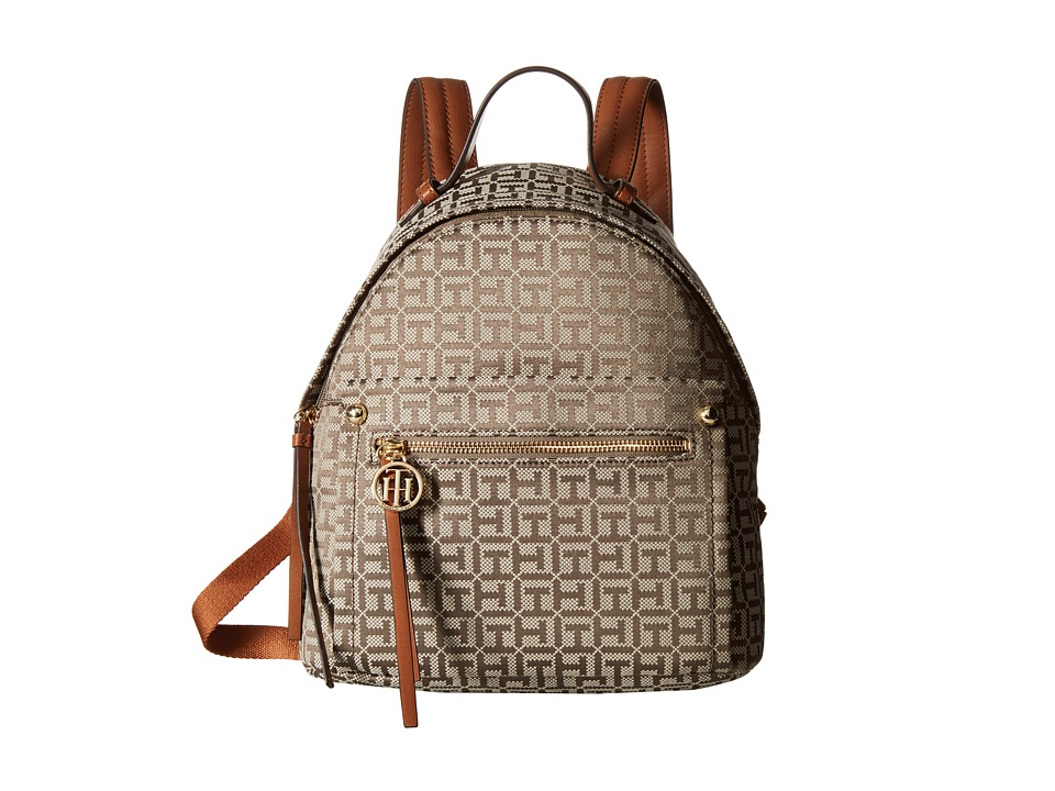 Tommy Hilfiger - Tessa - Monogram Jacquard/Smooth Small Backpack (Tan/Chocolate) Backpack Bags