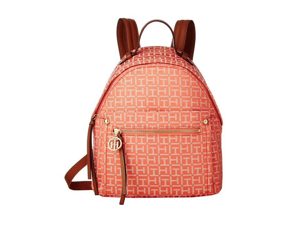Tommy Hilfiger - Tessa - Monogram Jacquard/Smooth Small Backpack (Coral/Cream) Backpack Bags