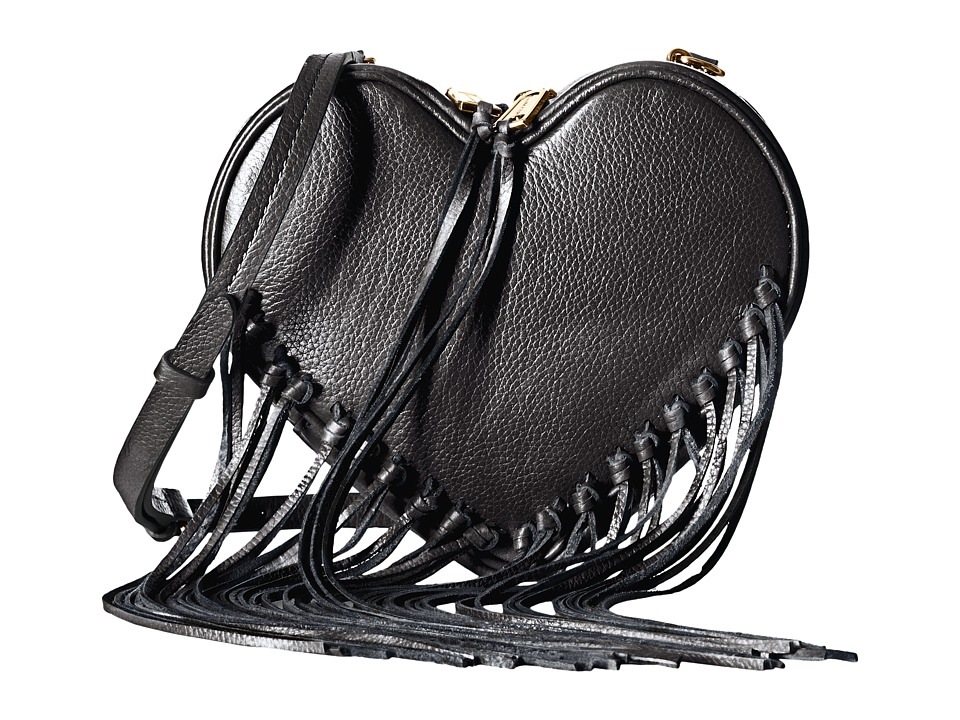 Rebecca Minkoff - Heart Fringe Crossbody (Black) Cross Body Handbags