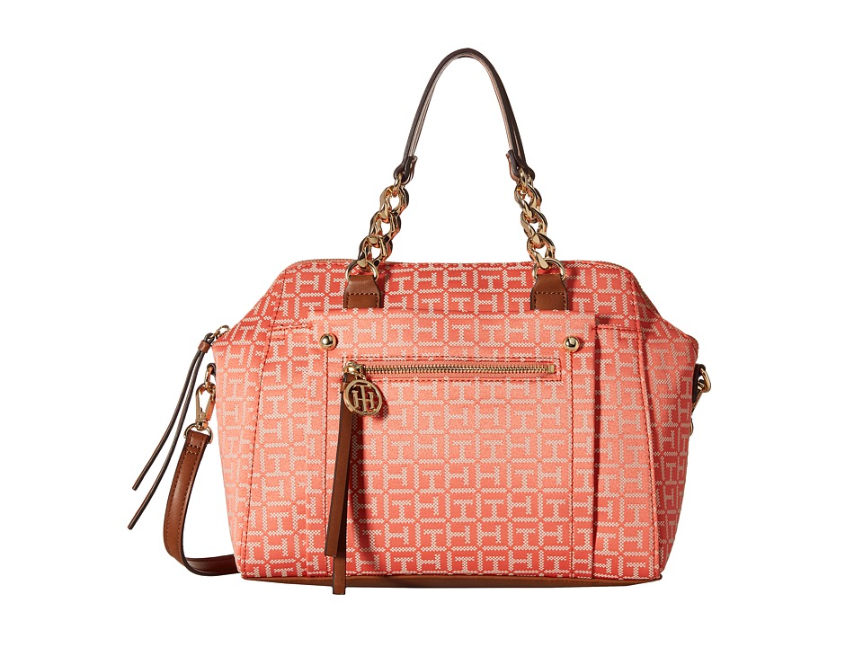 Tommy Hilfiger - Tessa - Monogram Jacquard/Smooth Convertible Dome Satchel (Coral/Cream) Satchel Handbags