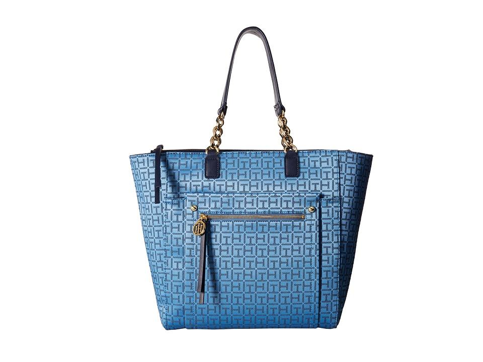 Tommy Hilfiger - Tessa - Monogram Jacquard/Smooth Tote (Silverlake/Denim) Tote Handbags