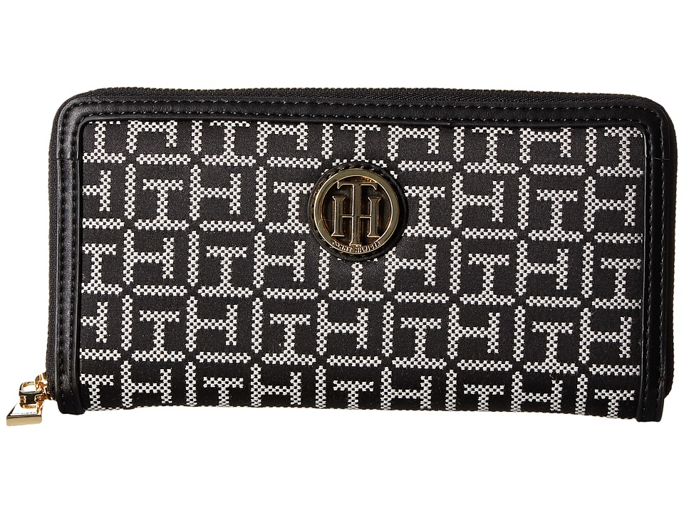 Tommy Hilfiger - TH Serif Signature - Monogram Jacquard/Smooth Large Zip Around Wallet (Black/White) Wallet Handbags