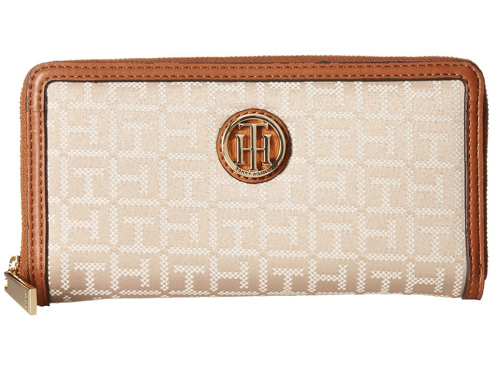 Tommy Hilfiger - TH Serif Signature - Monogram Jacquard/Smooth Large Zip Around Wallet (Khaki Tonal) Wallet Handbags