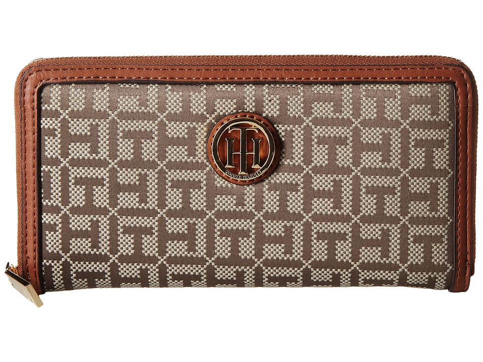 Tommy Hilfiger - TH Serif Signature - Monogram Jacquard/Smooth Large Zip Around Wallet (Tan/Chocolate) Wallet Handbags