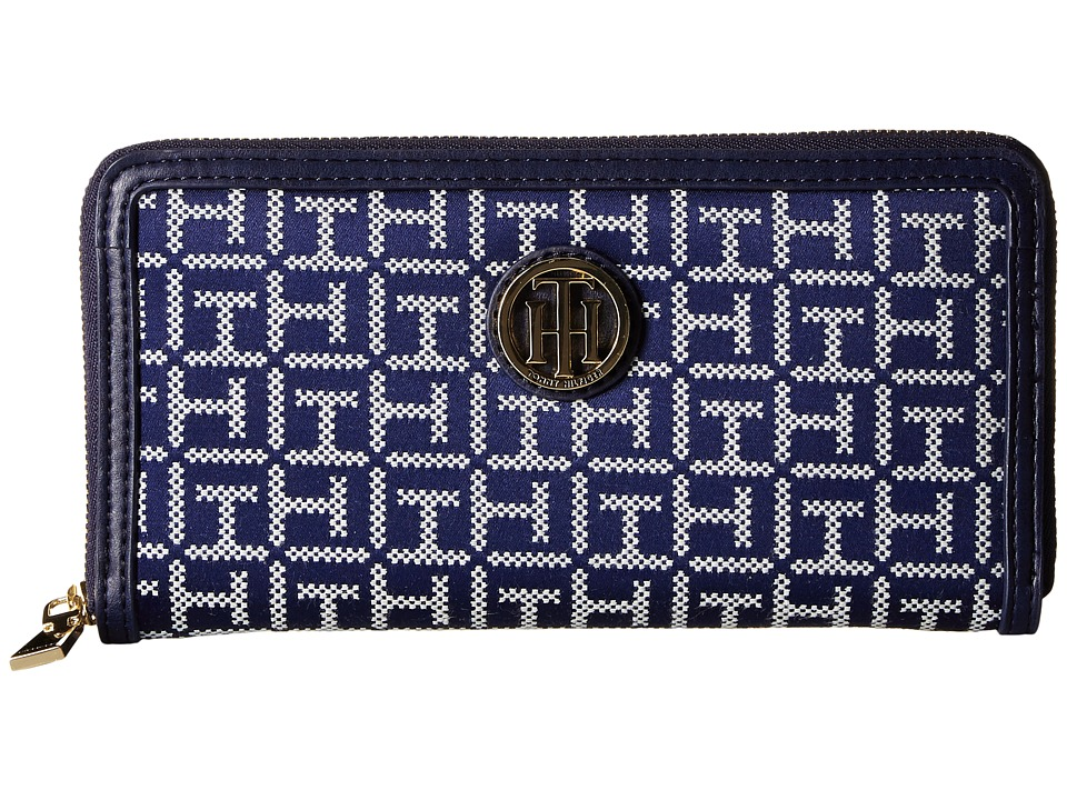 Tommy Hilfiger - TH Serif Signature - Monogram Jacquard/Smooth Large Zip Around Wallet (Navy/White) Wallet Handbags