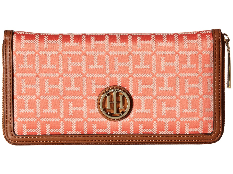 Tommy Hilfiger - TH Serif Signature - Monogram Jacquard/Smooth Large Zip Around Wallet (Coral/Cream) Wallet Handbags