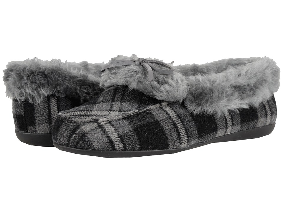 VIONIC - Cozy Juniper Moccasin (Grey Plaid) Women's Slip on Shoes