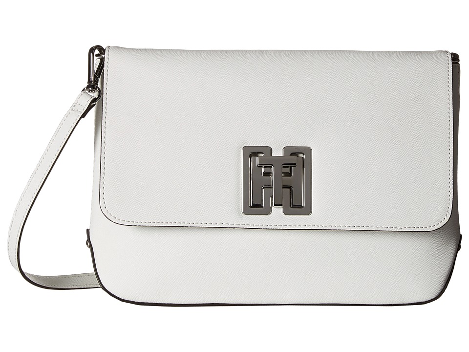 Tommy Hilfiger - Clara - Canvas - Textured Leather Large Clutch Bag (White) Clutch Handbags