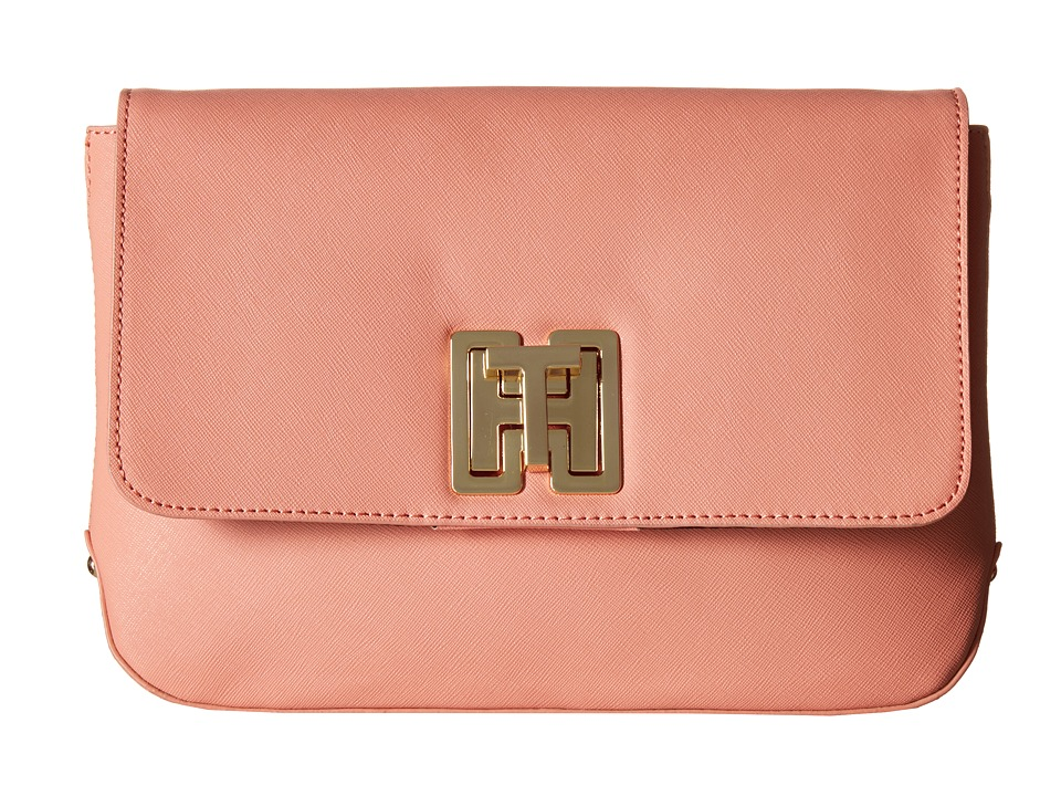 Tommy Hilfiger - Clara - Canvas - Textured Leather Large Clutch Bag (Coral) Clutch Handbags