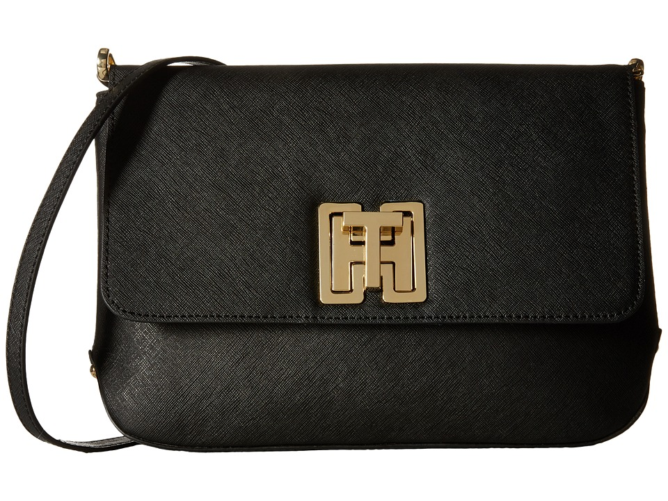 Tommy Hilfiger - Clara - Canvas - Textured Leather Large Clutch Bag (Black) Clutch Handbags