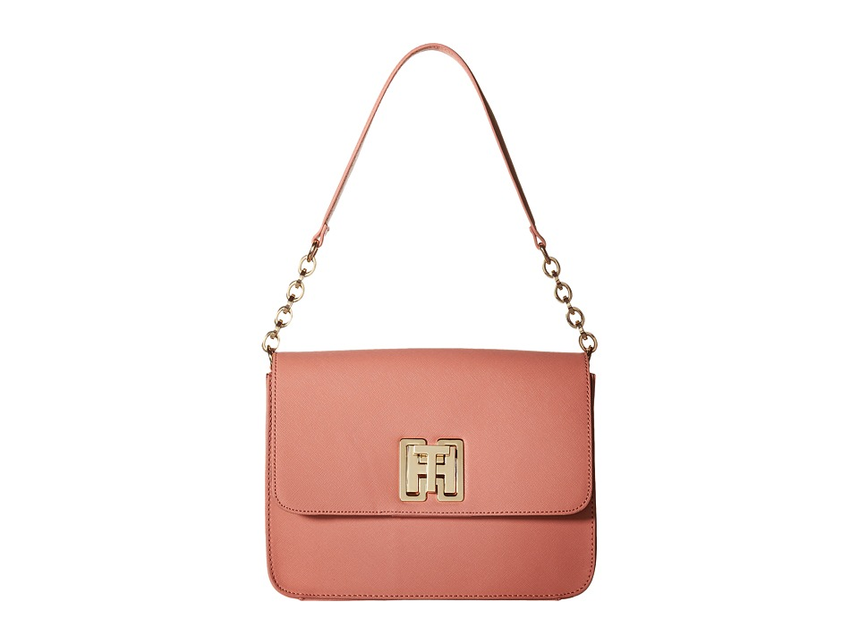 Tommy Hilfiger - Clara - Flap Shoulder - Textured Leather (Coral) Shoulder Handbags