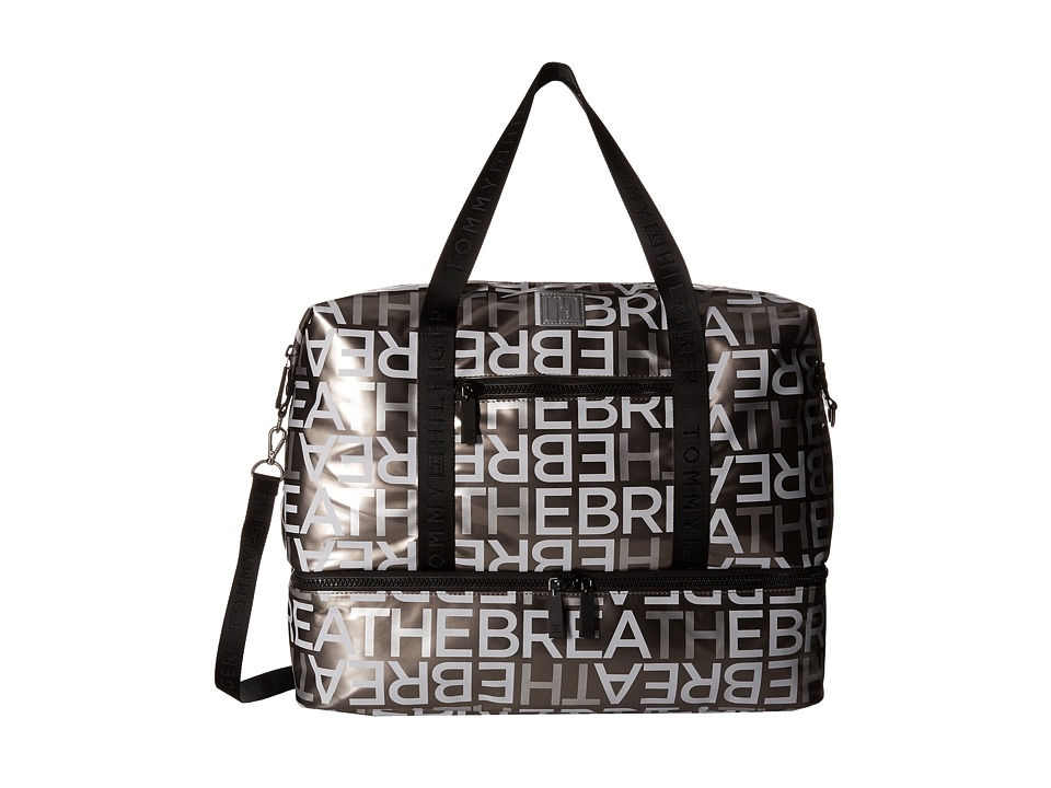 Tommy Hilfiger - Tommy Hilfiger Sport - High Shine Nylon/Solid Logo Webbing Gym Bag (Pewter) Bags