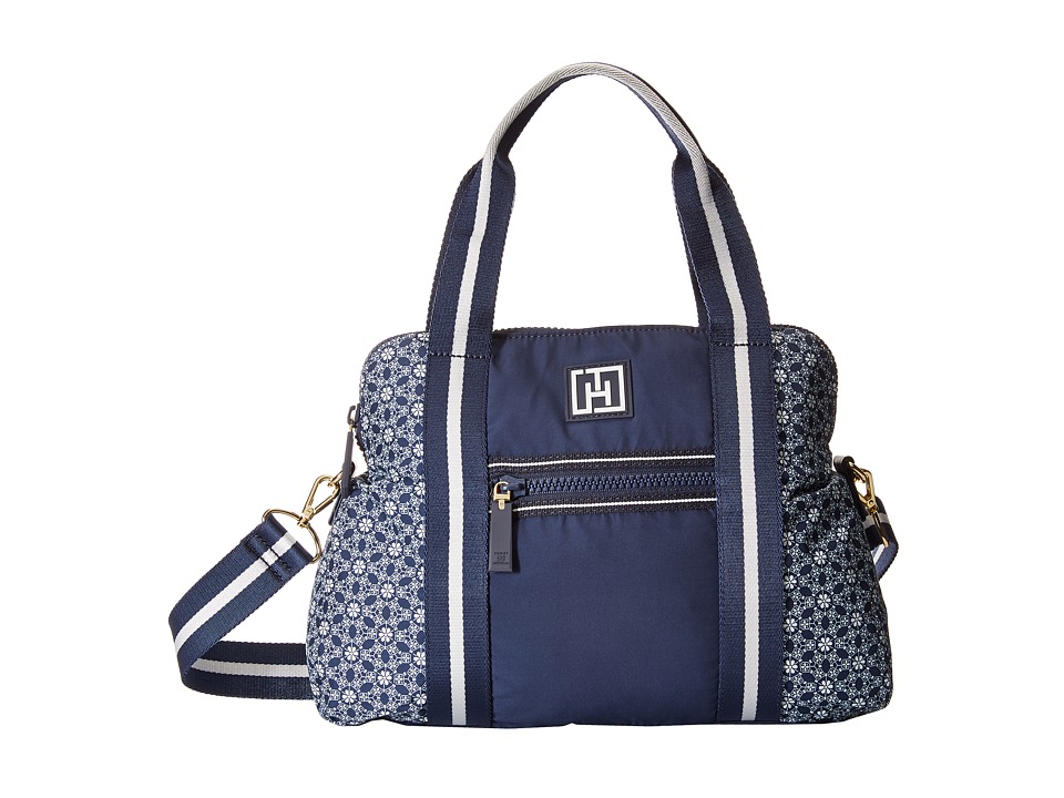 Tommy Hilfiger - Tommy Hilfiger Sport - Dome Story - Geo Floral Print Nylon/Solid Nylon Convertible Dome (Navy) Handbags