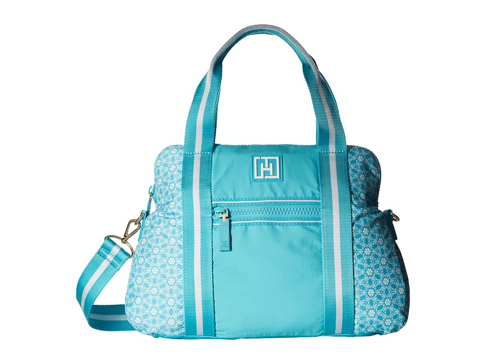 Tommy Hilfiger - Tommy Hilfiger Sport - Dome Story - Geo Floral Print Nylon/Solid Nylon Convertible Dome (Scuba Blue) Handbags