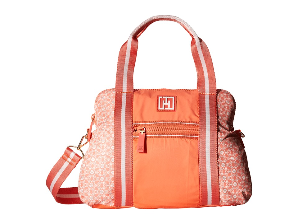 Tommy Hilfiger - Tommy Hilfiger Sport - Dome Story - Geo Floral Print Nylon/Solid Nylon Convertible Dome (Coral) Handbags