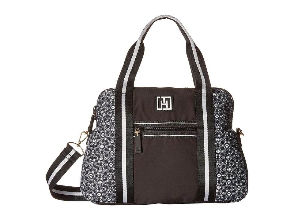Tommy Hilfiger - Tommy Hilfiger Sport - Dome Story - Geo Floral Print Nylon/Solid Nylon Convertible Dome (Black) Handbags