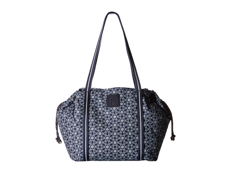 Tommy Hilfiger - Tommy Hilfiger Sport - Drawstring Story - Geo Floral Print Nylon Drawstring Shopper (Navy/White) Tote Handbags