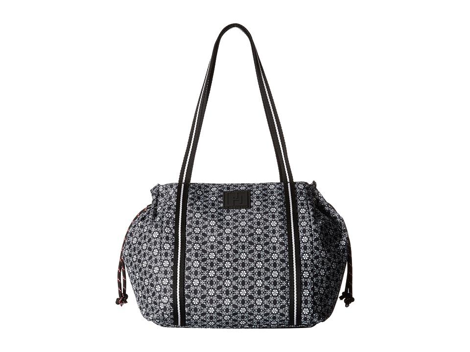 Tommy Hilfiger - Tommy Hilfiger Sport - Drawstring Story - Geo Floral Print Nylon Drawstring Shopper (Black/White) Tote Handbags