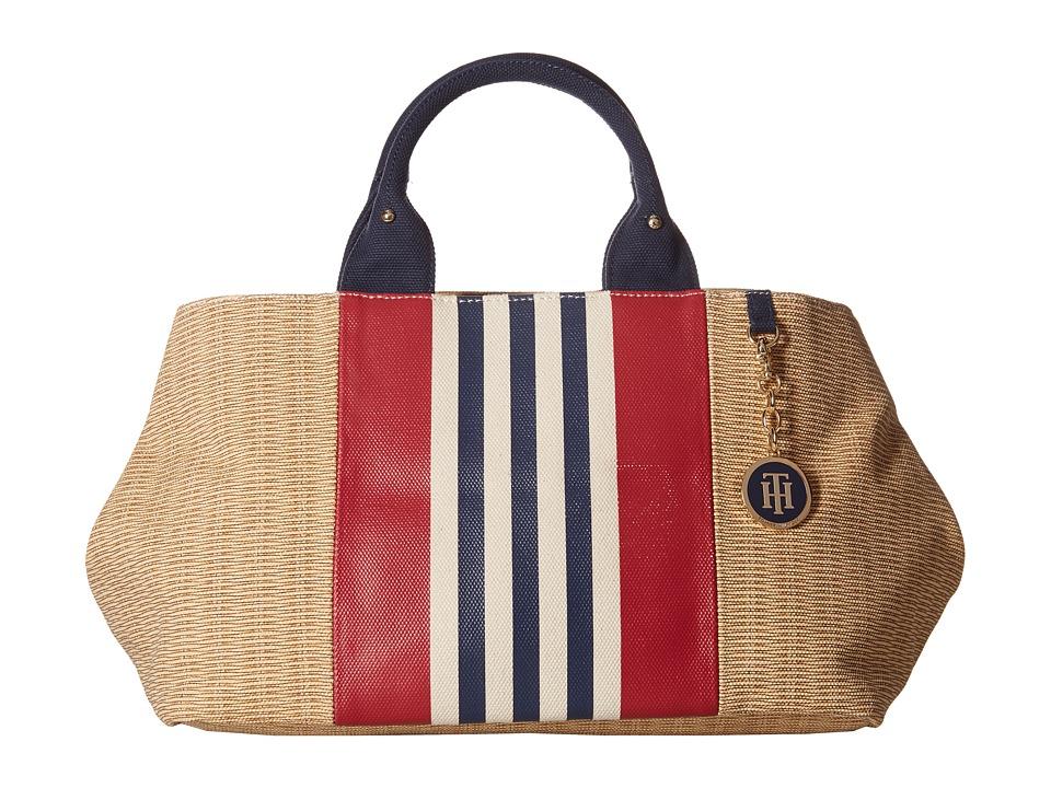 Tommy Hilfiger - Jolene - Printed Straw w/ Printed Stripes Shopper (Navy) Tote Handbags