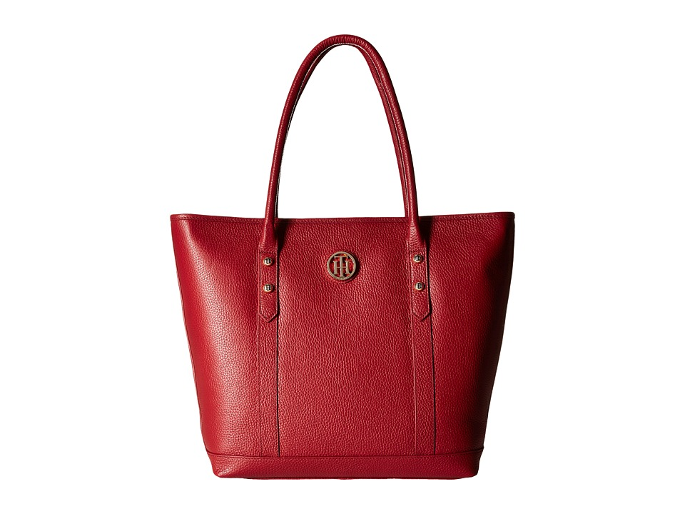 Tommy Hilfiger - Hadley - Tote - Pebble Leather (Tommy Red) Tote Handbags